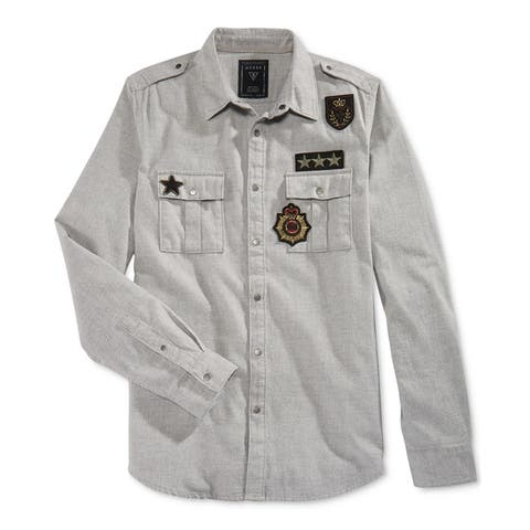 GUESS Mens Layne Twill Military Button Up Shirt, Grey, Large