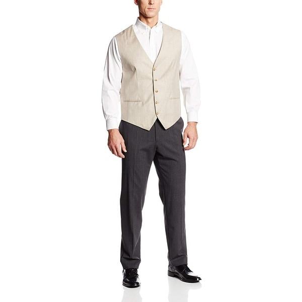 Perry Ellis Mens Big and Tall Linen Suit Vest