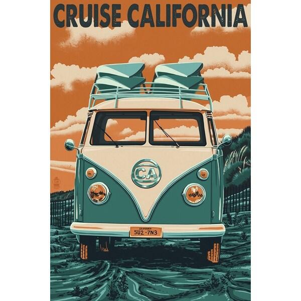 2898fe20c8cc6b Shop California - Camper Van Letterpress - Lantern Press Poster (Art Print  - Multiple Sizes Available) - 9 x 12 Art Print - Free Shipping On Orders  Over  45 ...