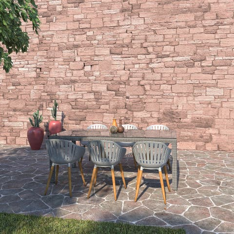 Amazonia Rouge Outdoor Patio Dining Set - Wicker & Wood