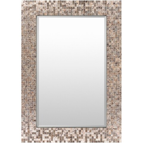 """40"""" Gray and Sand Brown Natural Stone Finish Rectangular Framed Wall Decor"""