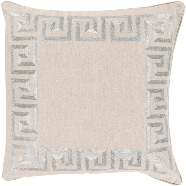 "20"" Smokey Silver and Light Gray Contemporary Border Decorative Square Throw Pillow - Down Filler"
