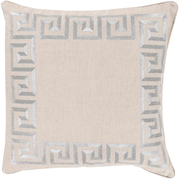 "22"" Smokey Silver and Light Gray Contemporary Border Decorative Square Throw Pillow - Down Filler"