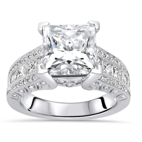 18k White Gold 2.0ct Princess Cut Moissanite and 1 & 1/4ct Diamond Engagement Ring