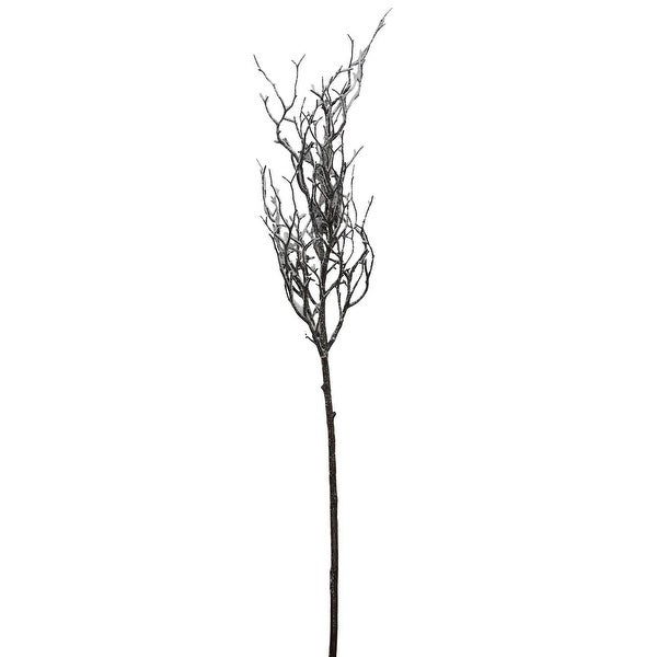 "43"" Frosted and Glittered Artificial Poplar Tree Branch - brown"