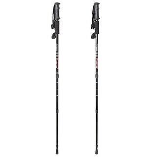 Image 2PCS Trekking Hiking Stick Pole Anti Shock Adjustable Telescoping 6061Aluminum Black