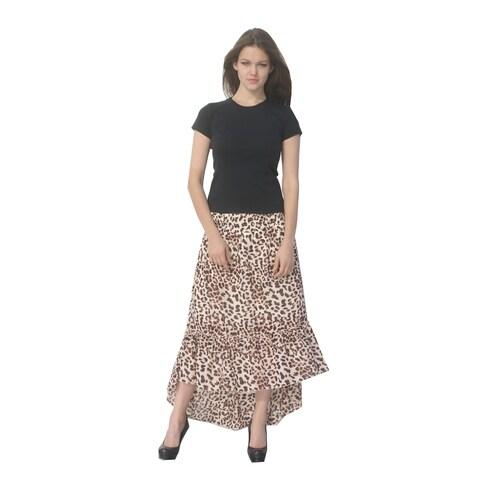 Deep Blue Womens Brown Beige Animal Print Ruffle Hi-Low Cover-Up Skirt