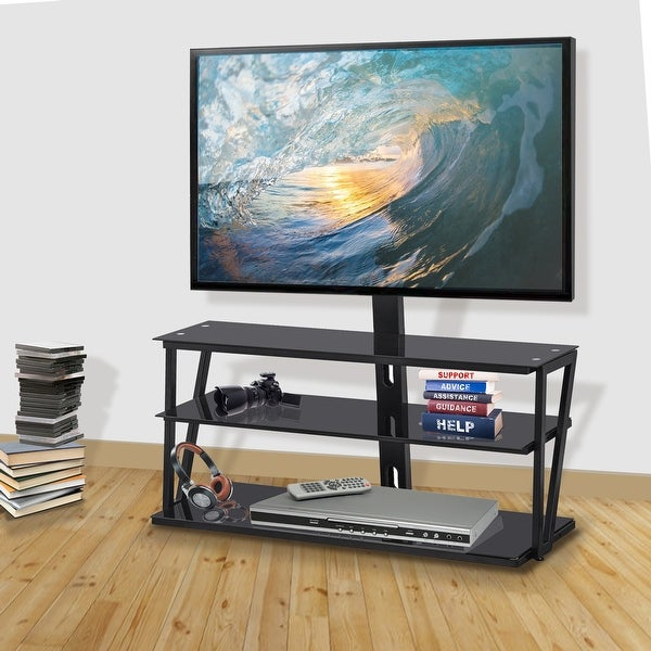 Universal Tempered Glass metal frame Three-layer glass TV Stand. Opens flyout.