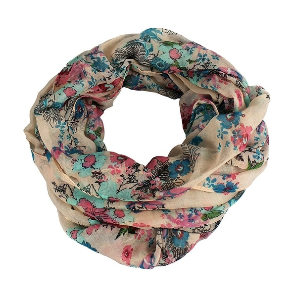 Floral & Birds Printed Light Weight Infinity Scarf - size:circumference 68 inches x 35 inches