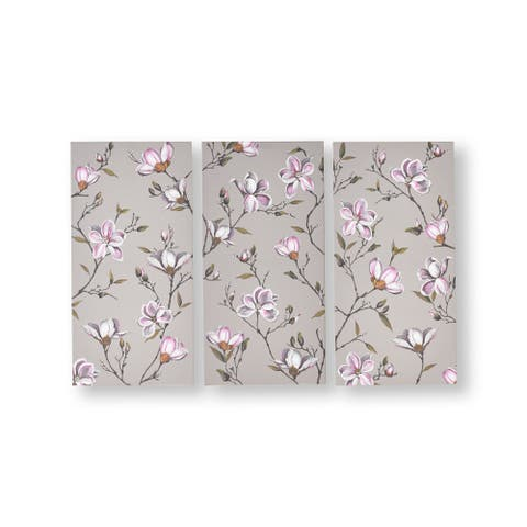 Graham and Brown 104010 Magnolia Daydream 3-Piece Frameless Botanical Painting on Stretched Canvas - Grey