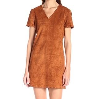 Catherine Malandrino NEW Brown Faux-Suede Women's Size 12 Shift Dress