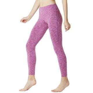Tesla FYP41 Women's Mid-Waist Ultra-Stretch Yoga Pants - Space Dye Pink