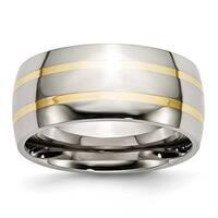 Chisel 14k Gold Inlaid Polished Titanium Ring (10.0 mm)