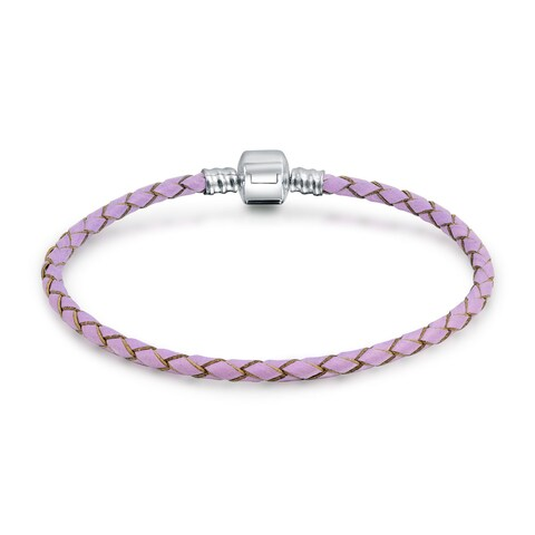 Bling Jewelry Pink Braided Leather Cord Barrel Clasp Bracelet .925 Sterling Silver