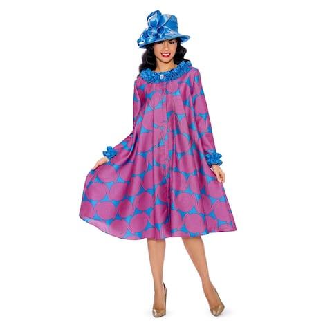 Giovanna Signature Women's Ruffled Neckline and Sleeve Geometric Print Dress