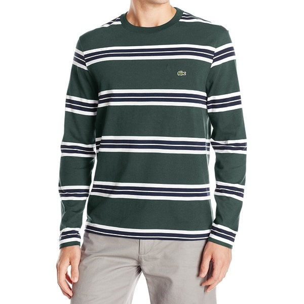 a3abaa6a Shop Lacoste NEW Olive Green White Mens Size 2XL Striped Long Sleeve ...