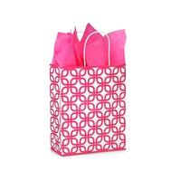 "Pack Of 25, Carrier 10 X 5 X 13"" Hot Pink Geo Graphics Recycled Paper Shopping Bag W/White Paper Twist Handles Made In Usa"