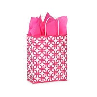"Pack Of 250, Carrier 10 X 5 X 13"" Hot Pink Geo Graphics Recycled Paper Shopping Bag W/White Paper Twist Handles Made In Usa"