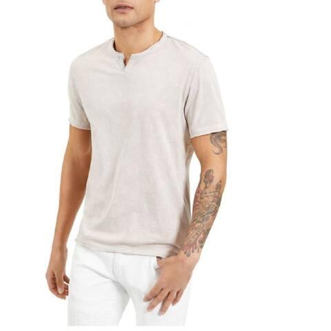 INC International Concepts Men's Space-Dye Split T-Shirt Beige Size Large