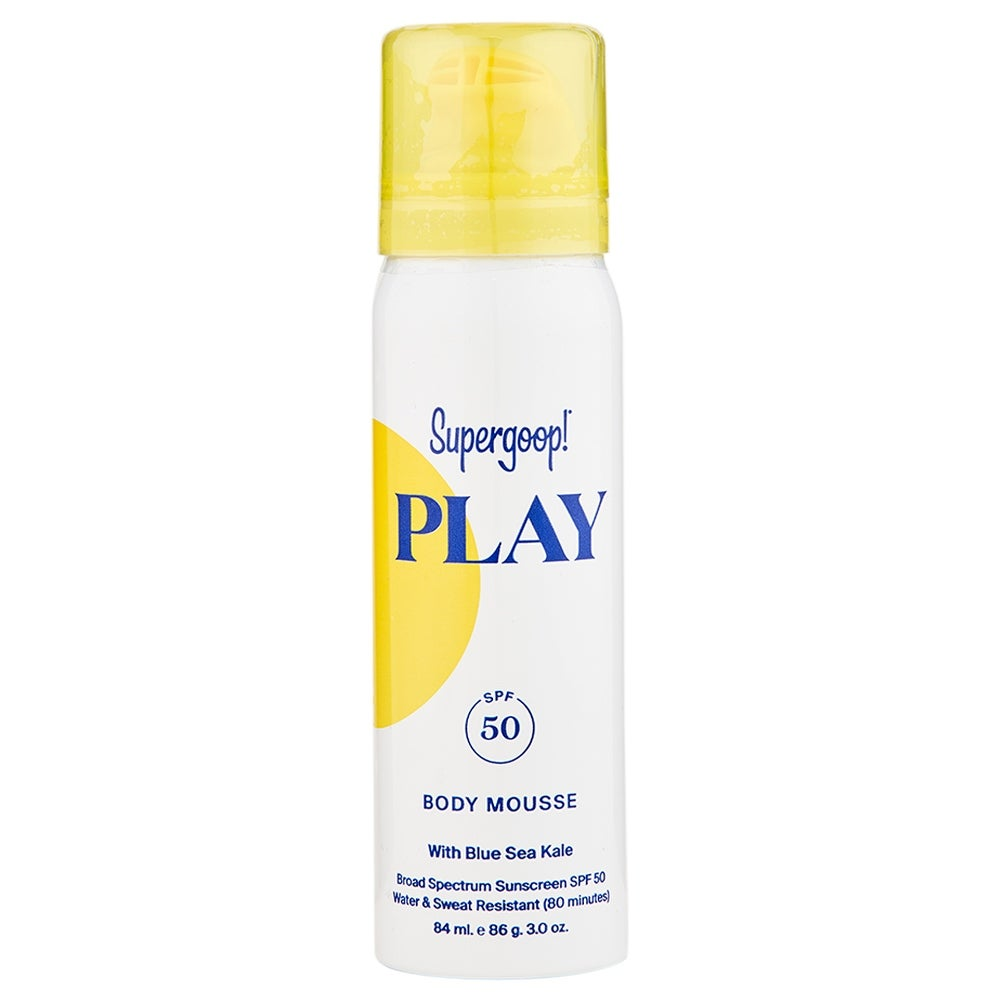 Supergoop Play Body Mousse SPF 50 with Blue Sea Kale 3.0 oz / 84 ml (White - Body Sunscreen)