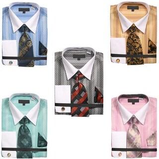 Men's Starburst Pattern Shirt with Tie Handkerchief Cufflinks (More options available)