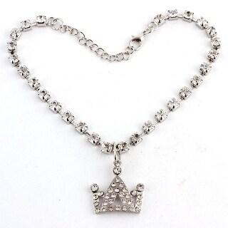Dog Metal Beads Rhinestone Inlaid Crown Shaped Pendant Necklace White