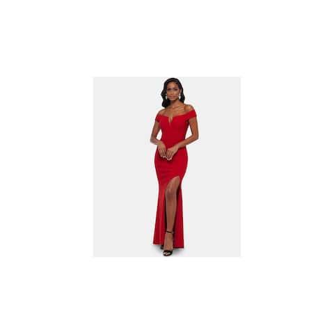 XSCAPE Red Short Sleeve Full-Length Dress 10