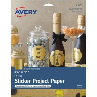 Avery Gold Full-Sheet Sticker Project Paper, 8-1/2 x 11 5 Sheets (4395)