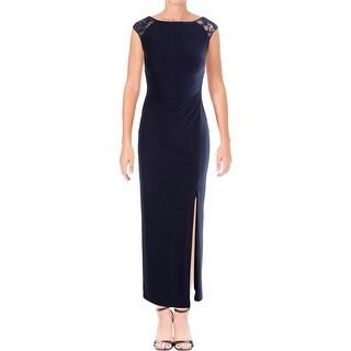 Lauren Ralph Lauren Womens Petites Dulcenetta Evening Dress Sequin Ruched