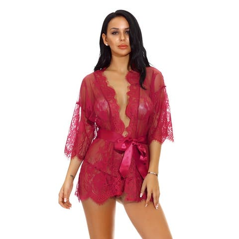 Eyelash Floral Lace Lingerie Sleeve Sleepwear with Multi-color ,Multi-size