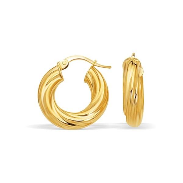 14k Yellow Gold Twisted Hoop Earrings