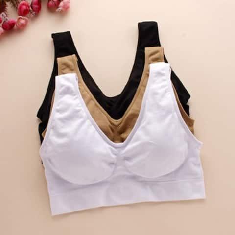 5c4b4ed13f9 3 Pack Women s Sports Bra Wirefree Yoga Bras Tank Top