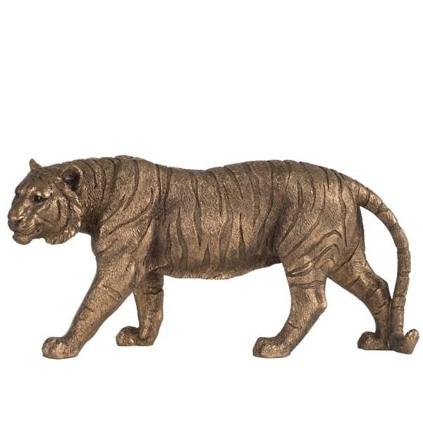 "11.25"" Brown Vintage Glamour Style Elegant Tiger Statue - N/A"