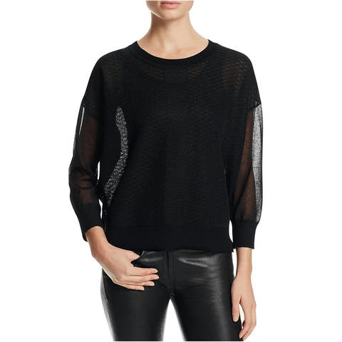 Finity Womens Slouchy Pullover Sweater, Black, Large