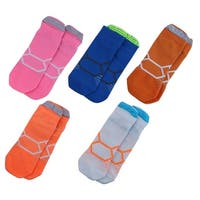 Unisex Exercise Traveling Cotton Blend Sport Ankle Socks Assorted Color 5 Pairs