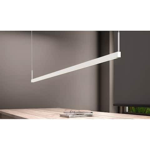 Sonneman Lighting Thin-Line Satin White 72-inch LED One Sided Pendant, White Shade