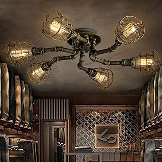 6 light industrial pipe ceiling light with rust finish - Antique