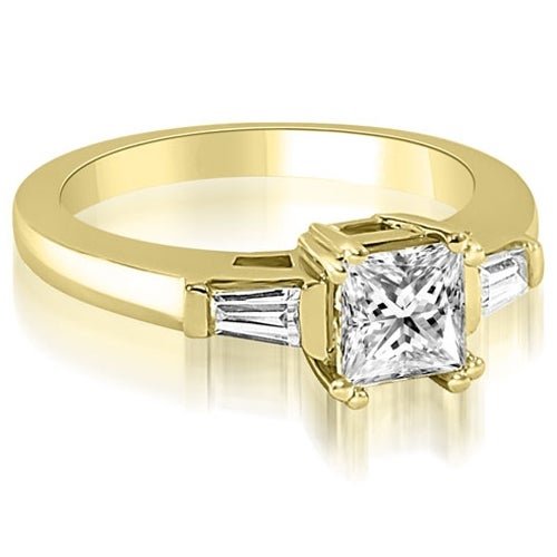 0.65 cttw. 14K Yellow Gold Princess Baguette Three Stone Diamond Engagement Ring
