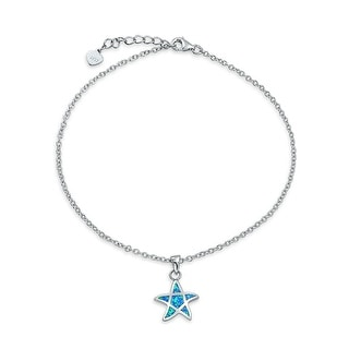 Bling Jewelry Synthetic Blue Opal Starfish Anklet Rhodium Plated 925 Silver Rhodium Plated