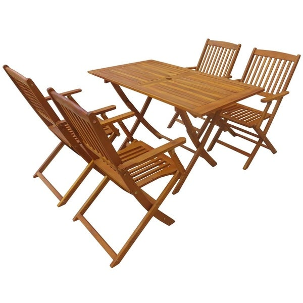 vidaXL Outdoor Dining Set 5 Piece Folding Solid Eucalyptus Wood Garden Patio. Opens flyout.