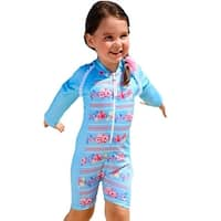 Sun Emporium Baby Girls Sky Blue Pink Long Sleeve Front Zip Sun Suit