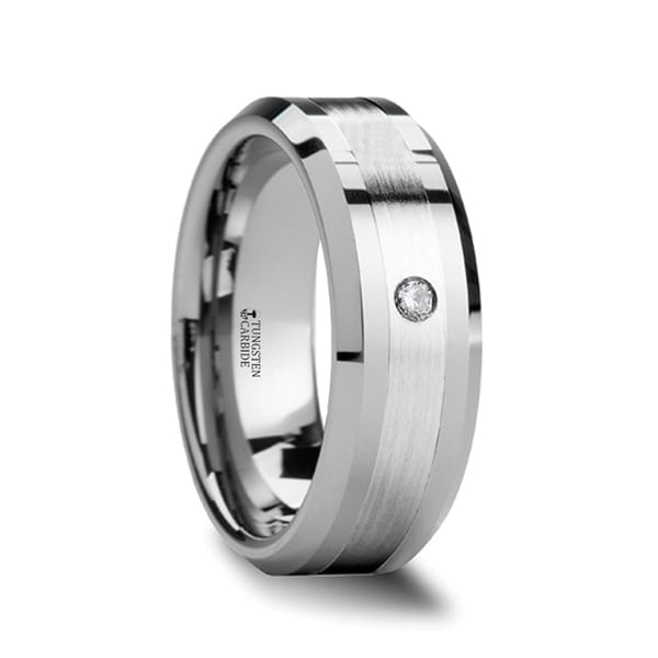 Leopold Silver Inlaid Beveled Tungsten Ring With Diamond
