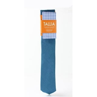 Tallia NEW Teal Green Textured Silk Neck Tie & Gingham Pocket Square