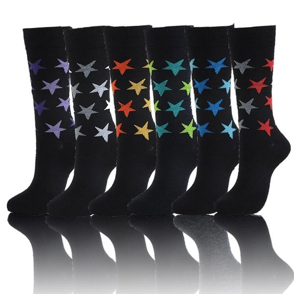 Men's Cotton Blend Stars Dress Socks (Size 10-13)