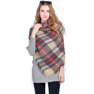 "Women Plaid Blanket Shawl Scarf for Fashion Wear & Winter - 56"" x 56""