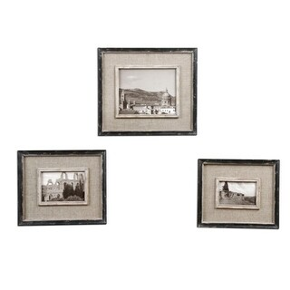 Set of 3 Distressed Black and Burlap 4x6 5x7 8x10 Photo Picture Frames