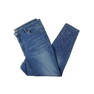 Love & Legend Womens Skinny Jeans Embellished Medium Wash
