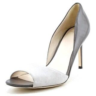 Cole Haan Antonia OT.Pump Women Peep-Toe Suede Gray Heels