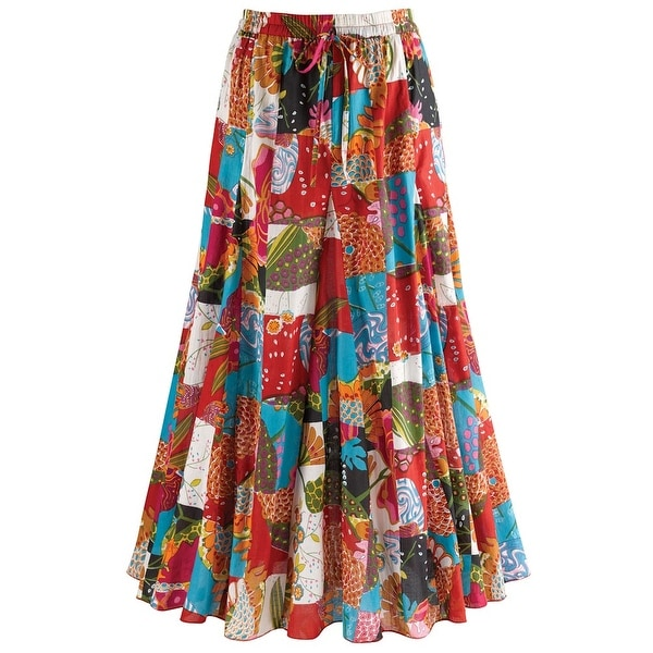 "Women's Patchwork Long Maxi Skirt - Elastic Waistband - 35"" Long"