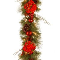 9 ft. Decorative Collection Hydrangea Garland with Battery Operated Warm White LED Lights - green